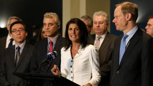 U.S. ambassador to the United Nations Nikki Haley speaks along with French Deputy Ambassador to the U.N. Alexis Lamek and British Ambassador Matthew Rycroft