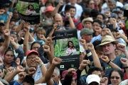 Hundreds gathered for the funeral of murdered indigenous activist Berta Caceres, in La Esperanza on March 2016.