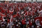 People wave Turkish flags during a rally to mark the end of the main opposition leader Kemal Kilicdaroglu's 25-day long protest, Istanbul, Turkey July 9, 2017.
