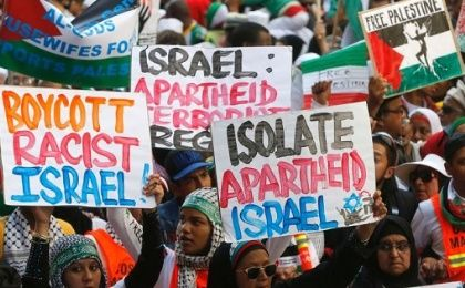 Palestine solidarity demonstrators in Cape Town, August 9, 2014.