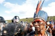 Brazilian Indigenous people take part in a demonstration against the violation of their rights in Brasilia.