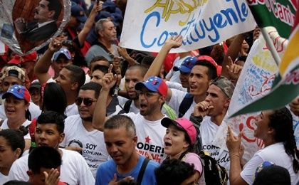 Supporters of President Nicolas Maduro during a march in favor of the National Constituent Assembly in Caracas.