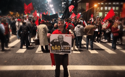 "The protestors are shouting ""Lula is innocent"" in the streets of Sao Paolo."