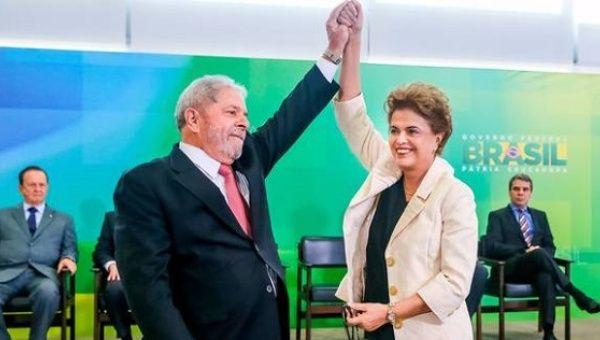 Former presidents Luiz Inacio Lula da Silva and Dilma Rousseff.