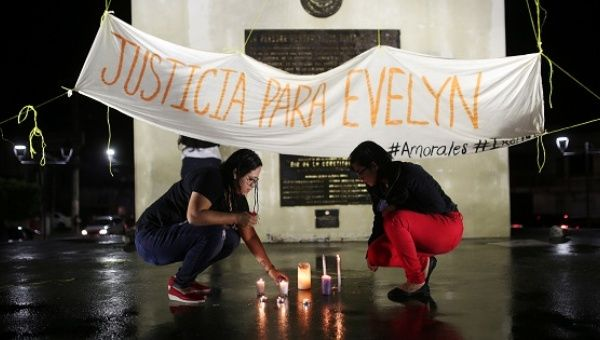 Women participate in a demostration in support of Evelyn Hernandez in San Salvador, El Salvador, on July 10, 2017.