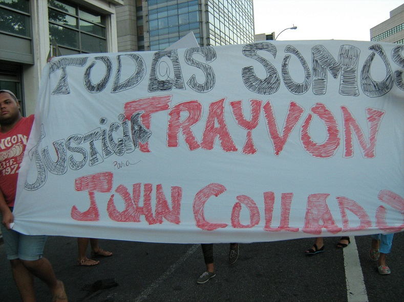 A July 16, 2013 march throughout a Latin American neighborhood in New York to protest the acquittal of George Zimmerman in the shooting death of Trayvon Martin.  The sign says, :We