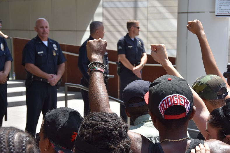 BLM has, since it was formed, chronicled the abuses people of color, and black people in particular, face at the hands of the US Police Force. Here the movement protests the LA Police Force