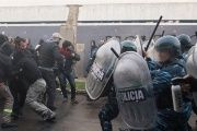 Police use tear gas to evict the worker from PepsiCo branch in Buenos Aires, Argentina, July 13, 2017.