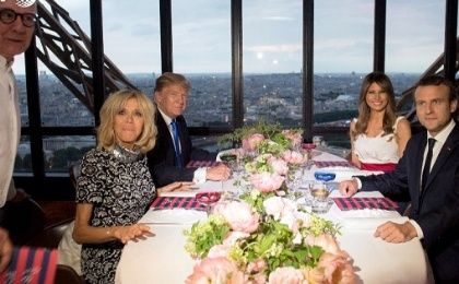 French President Macron hosts US President Trump for a dinner prepared by chef Alain Ducasse at the Eiffel Tower restaurant Le Jules Vernepic.