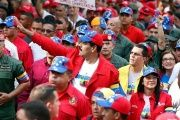 Venezuelan President Nicolas Maduro joined by hundreds of supporters at a Caracas rally.