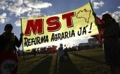 Activists hold a MST march in Brasilia, Brazil.