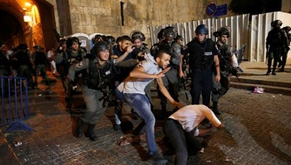 Israeli police attack Palestinian protesters outside Lion