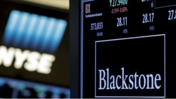 The ticker and trading information for Blackstone Group is displayed at the post where it is traded on the floor of the New York Stock Exchange.