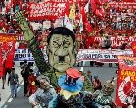 Protesters display an effigy of President Rodrigo Duterte during a march towards the Philippine Congress ahead of Duterte's State of the Nation address in Quezon city, Metro Manila Philippines July 24, 2017.