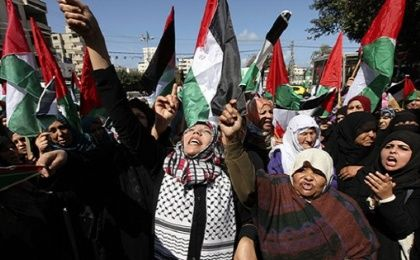 Women protest the Israeli occupation of Palestine.