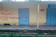 "Houses in San Jose de Apartado have been vandalized with the message,""The AGC has come to stay."""