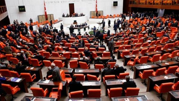 Turkish parliament convenes for a debate in Ankara, Turkey, Jan. 20, 2015.