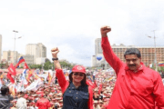 Venezuela's President Nicolas Maduro has been addressing crowds in Caracas as campaigning ends.