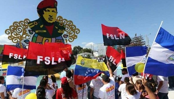 Nicaraguans demonstrate in support of Venezuela