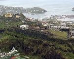 Aerial view handout of the British Royal Navy shows damaged property following hurricane Ivan raged over Grenada.