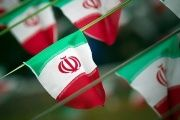 Iranian national flags displayed in a square in Tehran, Iran, on February 10, 2012.