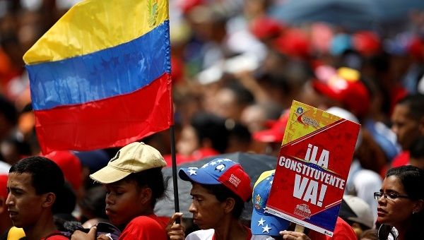 Government supporters attend the closing campaign ceremony for the Constituent Assembly election in Caracas, Venezuela, July 27, 2017.
