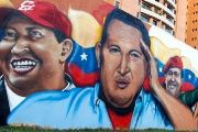 A mural in Venezuela depicts former President Hugo Chavez.