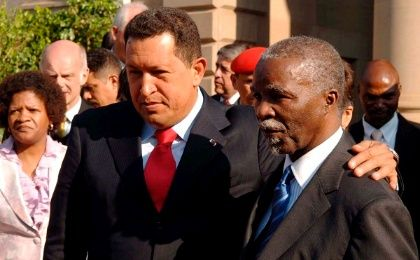 Late President of Venezuela Hugo Chavez in South Africa in 2008 with South African President Thabo Mbeki