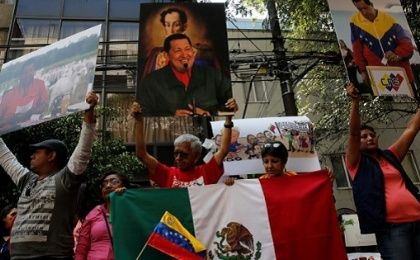 Supporters of Venezuelan President Nicolas Maduro during an event in favor of Venezuela
