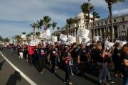 Members of Puerto Rico's labor unions protest against the island's US$74 billion dollar debt.