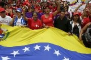 Venezuelans march in support of President Nicolas Maduro.
