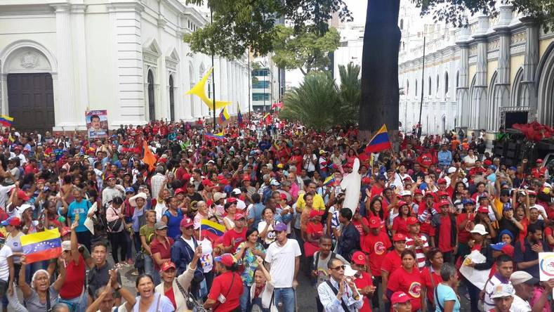 The crowds form outside the Legislative Palace in Caracas