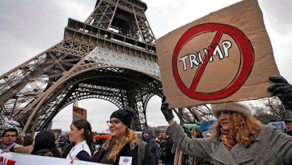 Protesters in Paris rally against the Trump administration in early February 2017