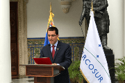 Venezuela's new Foreign Minister Jorge Arreaza reads out a statement on Mercosur's decision