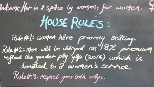 The Handsome Her vegan cafe has found a unique way to address the pay gap between men and women.