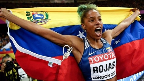 Yulimar Rojas of Venezuela reacts after winning the final.