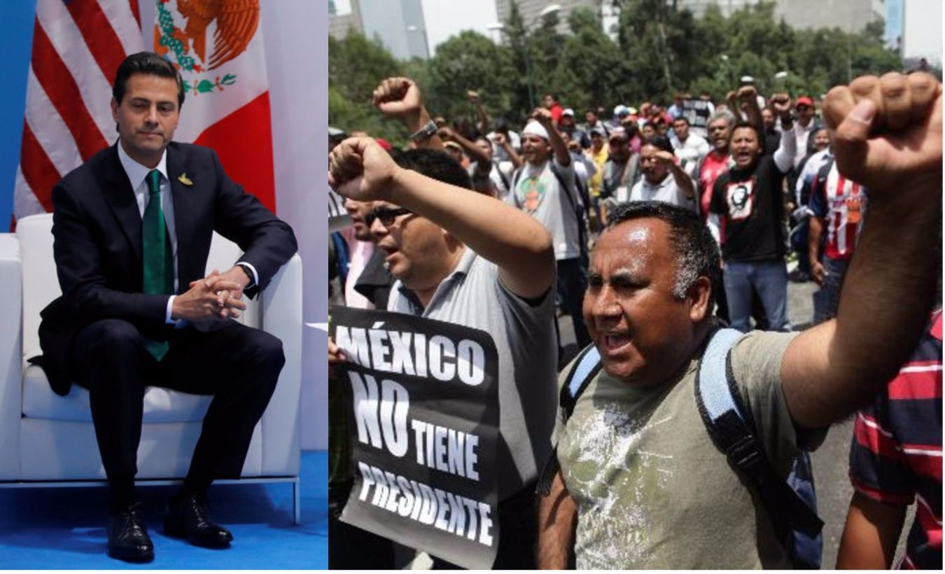 "As the people chanted ""Fuera, Peña, fuera!"" – ""Leave, Peña, leave!"" – speakers denounced the structural reforms introduced by the PRI president. (FILE)"