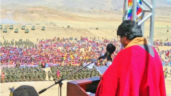 Bolivian President Evo Morales speaks to the country