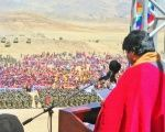 Bolivian President Evo Morales speaks to the country's Armed Forces during a national ceremony.