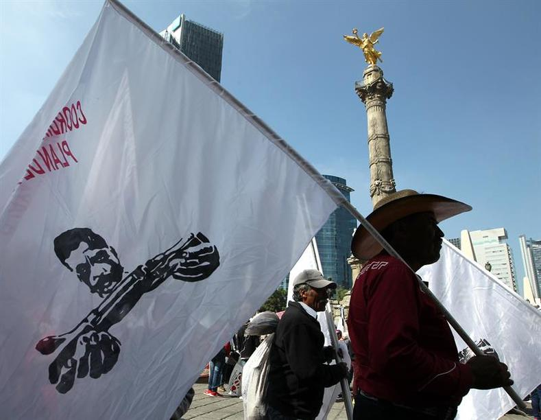 A campesino carries a flag that bears the image of Emiliano Zapata, as he marches for the Mexican Government to reverse cuts to the sector