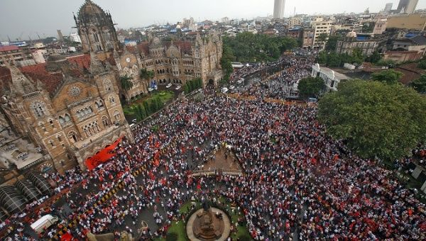 People gather to take part in a protest organised by the Maratha community in Mumbai, India, Aug. 9, 2017.