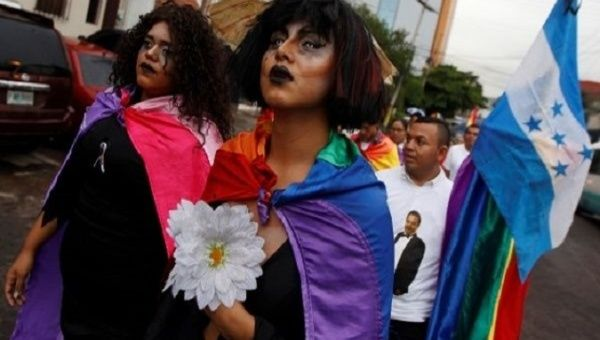 Members of the LGBT community march in Tegucigalpa, Honduras.