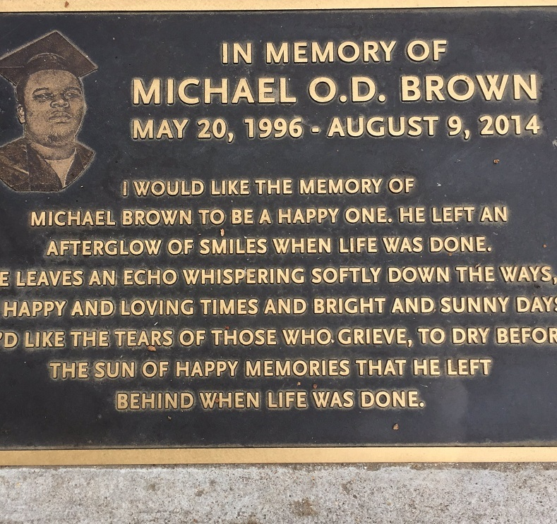 The Michael O.D. Brown memorial erected by the city of Ferguson, Missouri, in the United States