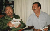 General Secretary of the Communist Party of Argentina, Patricio Echegaray (R) with Cuban Revolutionary Fidel Castro (L).