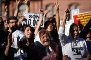 Members of Mothers of Plaza de Mayo shout slogans during commemorations of the 40th anniversary of their first march.