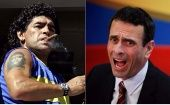 Diego Maradona (L) and Henrique Capriles (R).