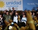 Cristina Fernandez at closing rally of her campaign, August 10
