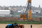 Heavy machinery can be seen at work along Israel's border with the Gaza Strip, as seen from Kfar Aza, southern Israel February 28, 2017.