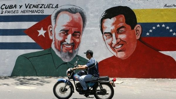 A mural of late Cuban revolutionary Fidel Castro and former Venezuelan President Hugo Chavez.