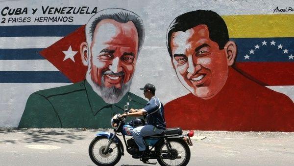A mural of late Cuban revolutionary Fidel Castro and former Venezuelan President Hugo Chavez.
